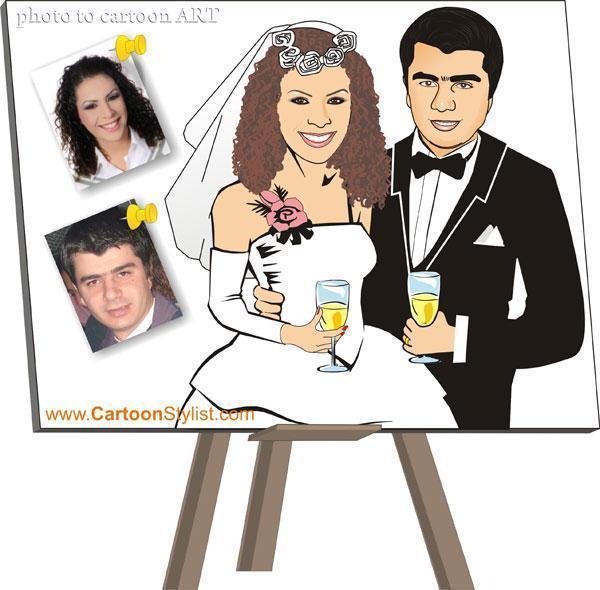 Bride And Groom Cartoon Wedding Invitation Card